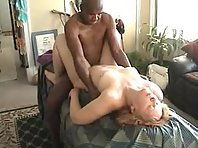 Older cuckold wife gets pressed down and she is filed with colored cock