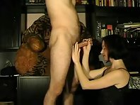 Bored wife giving hand jobs and getting cum on her face